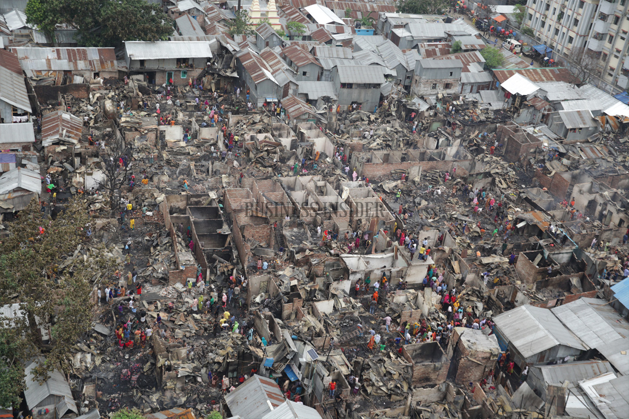 A look at the shanties after the fire