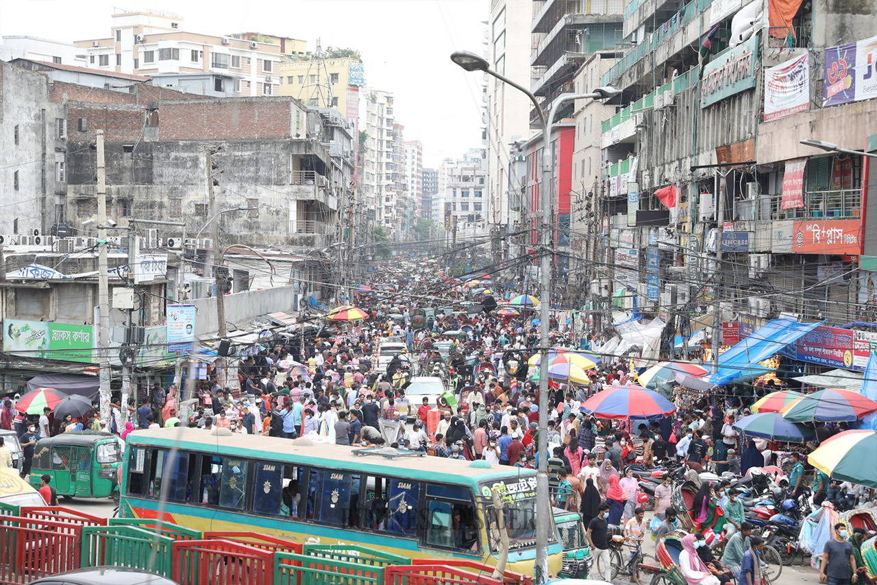 Mass crowd of people on the streets