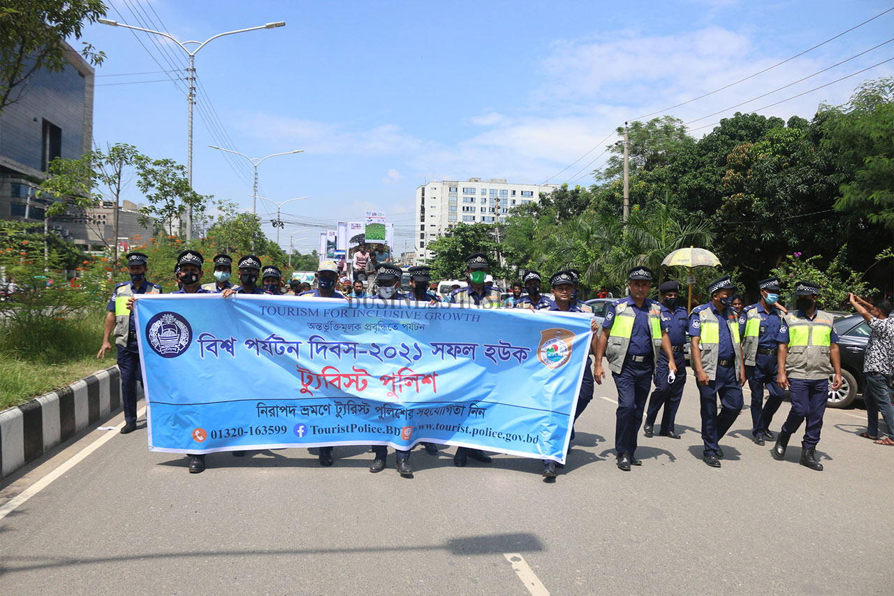 Tourist police bring out a rally to observe World Tourism Day