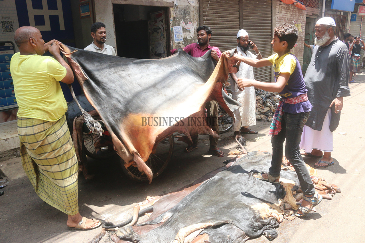 Wholesalers are buying raw hide from traders and taking it to warehouses
