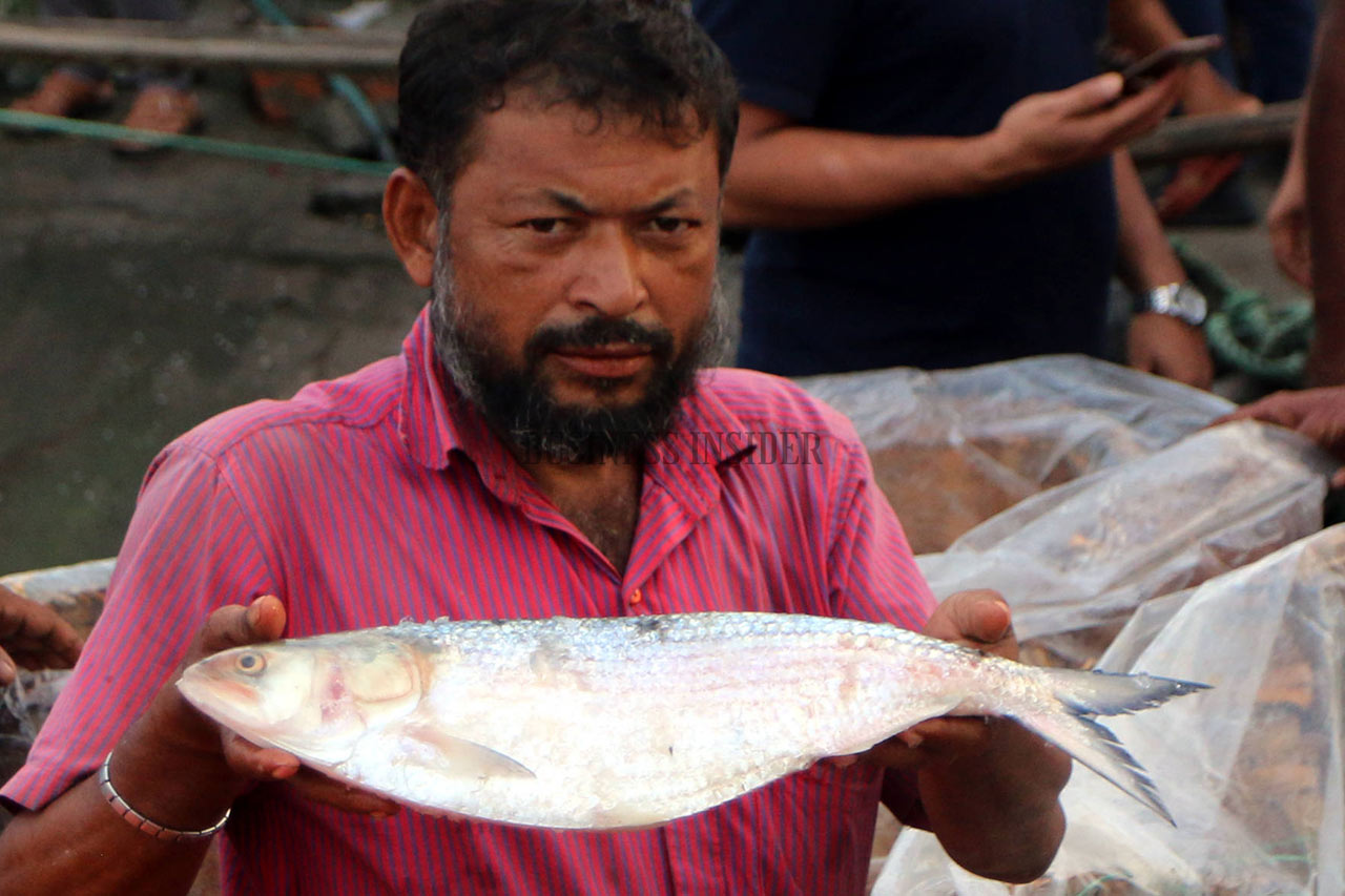 A fisherman is showing a large size of Hilsa
