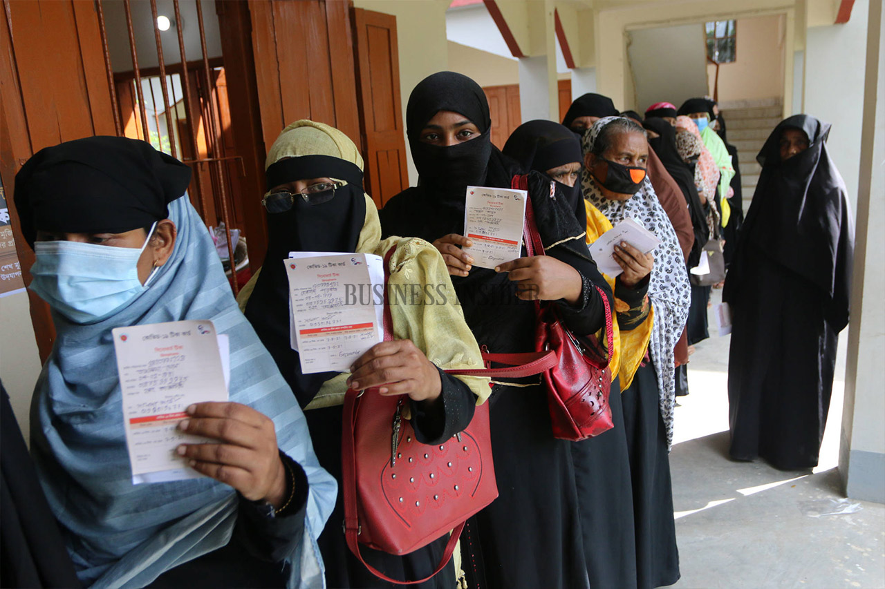 Women`s line at the health center