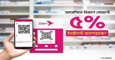 Bkash offers 5% cashback on payment at over 6,000 pharmacies
