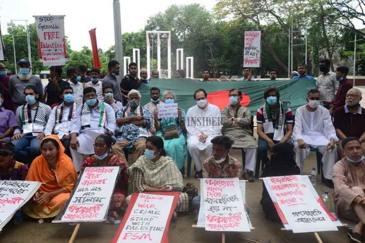 In Pictures: Dr. Zafrullah Chowdhury rallies at Shaheed Minar to protest the attack on Palestine