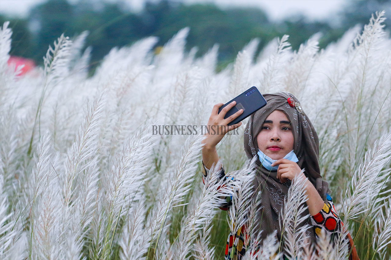A girl takes her selfie with Kans Grass flowers in Keraniganj.